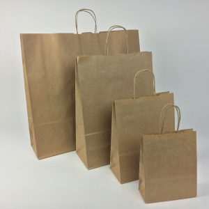 Papiertragetasche mit Papierkordel in Braun