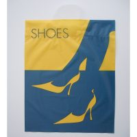 Schuhe Einkaufstüten blau-gelb Frau