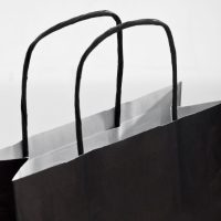 Bedruckte Papiertragetaschen Kordel in Schwarz