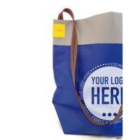 Blaue Papiertragetaschen mit Logo-Druck und Schlaufen