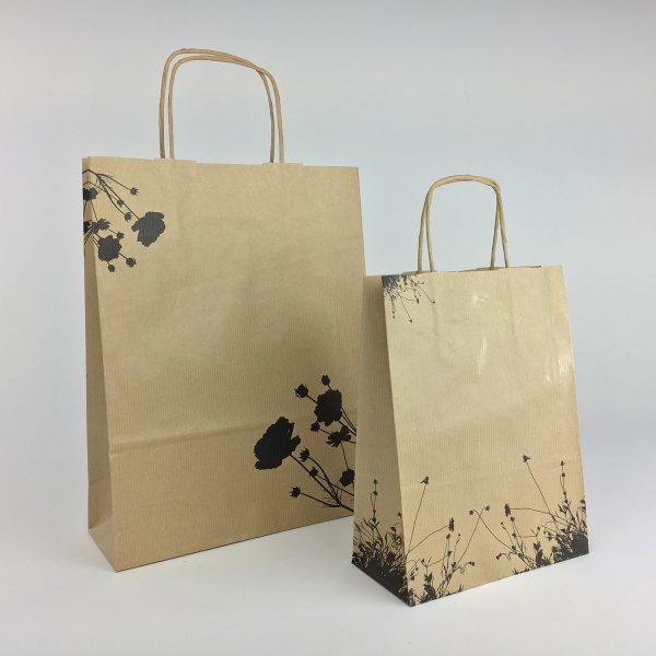 Braune Papiertüte aus Recyclingpapier mit Motiv