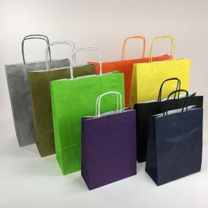 Papiertragetasche mit Papierkordel in verschiedenen Farben