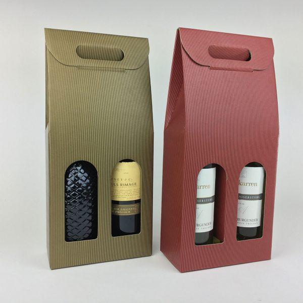 Weintaschen für zwei Flaschen mit Griffloch