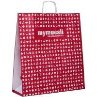 my-muesli bedruckte Papiertragetaschen mit Falte und Kordel