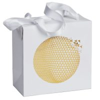 Weiße Tragetasche Geschenkverpackung mit Ornament in Gold